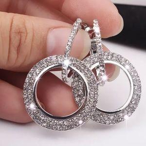 Rhinestone Double Circle Hoop Drop Silver Earrings